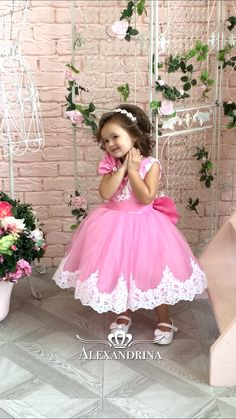 Wedding Party Holiday Bridesmaid Communion Lace Tulle #flowergirldresses #flowergirldress #flowerdress #firstcommunion #birthdaydress #princessdres #cinderella #cinderelladress #whitedress #firstcommuniondress #bluedress #golddress Baby Girl Dresses Diy, Kids Party Wear Dresses, Baby Girl Birthday Dress, Baby Girl Frocks, Baby Girl Dress Patterns, Frocks For Girls, Kids Frocks, Birthday Dresses, Little Girl Dresses