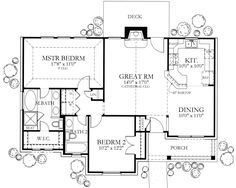 Ranch Style House Plan - 2 Beds 2 Baths 1092 Sq/Ft Plan #80-101 Floor Plan - Main Floor Plan - Houseplans.com