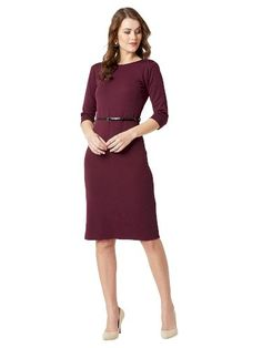 Check out this Wine Red knitted solid belted midi bodycon dress, has a round neck and sleeves, has a button closure. Fashion 101, India Fashion, Fashion Sale, Woman Wine, Red Belt, Womens Fashion Stores, Women's Fashion Dresses, What To Wear, Bodycon Dress