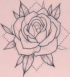 Ideas Traditional Tattoo Art Rose For 2020 Rose Tattoo Stencil, Tattoo Outline Drawing, Rose Drawing Tattoo, Rose Stencil, Outline Drawings, Tattoo Sketches, Tattoo Drawings, Red Rose Drawing, Stencil Art