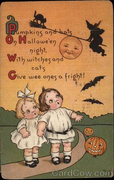Vintage Halloween Costumes Vintage Halloween Card Really cute vintage image of two adorable toddler girls watching a witch and cat on a broomstick. The insid. - Shop Vintage Halloween Card created by Vintage_Obsession. Personalize it with photos Vintage Halloween Images, Halloween Pictures, Vintage Holiday, Halloween Night, Holidays Halloween, Spooky Halloween, Halloween Crafts, Happy Halloween, Halloween Decorations
