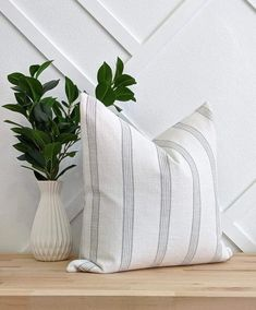 Stone Grey French Country Stripe Linen Pillow - Stone Grey French Country Stripe Linen Pillow