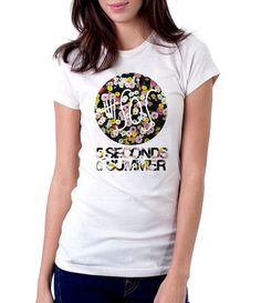 5 Seconds Of Summer Flowers - Women - Shirt - Clothing - White, Black, Gray - @Dianov93