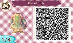 ACNL QR Code: Green & Cream Dress w/ Shawl