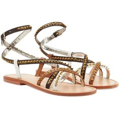 Dsquared2 Embellished Leather Sandals ($150) ❤ liked on Polyvore featuring shoes, sandals, flats, flat sandals, brown, flat pumps, leather flats, brown flats, ankle wrap flat sandals and ankle strap flats