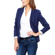 Veste femme jersey bleu marine