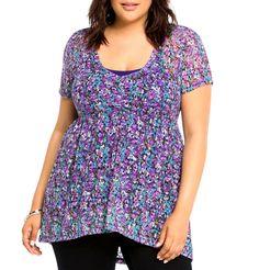 TORRID NWT Womens PLUS 0 0X 12 Purple Floral Lace Babydoll Top Hi Low Shirt NEW #Torrid #Blouse #Casual