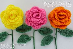 DIY Free Pattern How to Crochet a Rose Flower Flor Flores Bouquet with YouTube Video by Naztazia