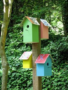 bird houses on post - pinner says~Meg painted some wooden bird houses recently. This would be a sweet way to display them.