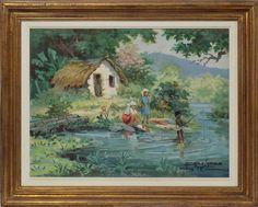 "LOPES, AFONSO (1918 - 2000). ""Lavadeiras e pescador.."
