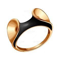 Кольцо из золоченого серебра с черной эмалью