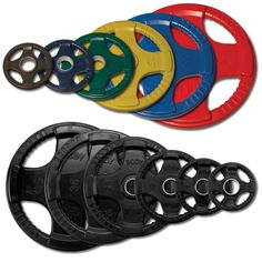 Impact-resistant, these Olympic Plates (ORT) will not split, crack or peel. They are also impervious to rusting, chipping, flaking or losing their color. And the integrated metal sleeve provides a smooth, secure fit onto any Olympic bar. Heavy lifting has never been easier or safer.