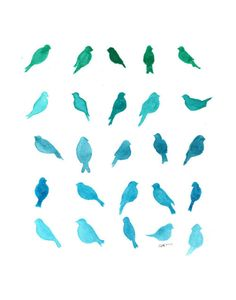 "Ombre Art Bluebird art 8 x 10"" Birds of a Feather Turquoise Blue & Green…"
