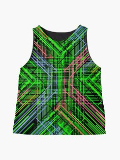 'Colors at Play Funky Colorful and Abstract Geometric Lines' Sleeveless Top by Pamela Arsena Green Blouse, Green Dress, Blouses For Women, Women's Blouses, Green Jumpers, Pretty Shirts, Geometric Lines, Top Top, Chiffon Tops