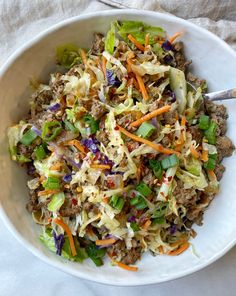 Spring Roll in a Bowl - onebalancedlife.com Chickpea Recipes, Beef Recipes, Cooking Recipes, Spring Roll Bowls, Spring Rolls, Healthy Spring Recipes, Casserole Recipes, Family Meals, Side Dishes