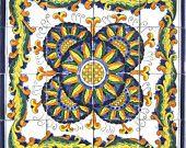 DECORATIVE CERAMIC TILES: mosaic panel hand painted wall decor mural kitchen backsplash bathroom swimming pool patio art tile  24in x 24in