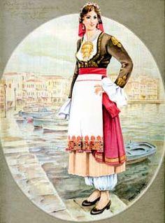Κρήτη - Crete Greek Traditional Dress, Traditional Fashion, Traditional Art, Traditional Outfits, Ancient Greek Costumes, Greek Dress, Greek Royalty, Greek Clothing, Folk Costume