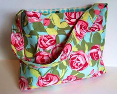 Pleated Purse w/ Zippered Pocket in Amy Butler Love Tumble Roses w/ Aqua Sunspots