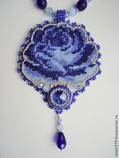 """Кулон """"Blue Velvet"""" - синий,ручная авторская работа,бисерное украшение"""