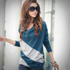 Wholesale Exquisite Boat Neck Color Match Comfortable Long Sleeve T-Shirt For Women Only $2.54 Drop Shipping   TrendsGal.com