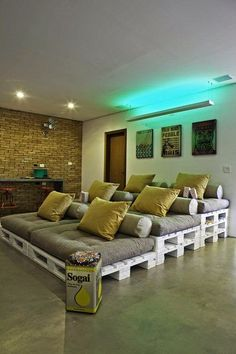 Multi-level lounge space made from pallets
