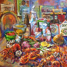 La Table De Fruits De Mer by Dianne Parks - La Table De Fruits De Mer Painting - La Table De Fruits De Mer Fine Art Prints and Posters for Sale