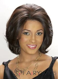 Fashionable Short Wavy Sepia African American Lace Wigs for Women