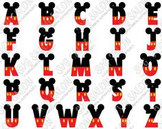 Mickey Mouse Ears and Pants Layered Disney Alphabet Font Cutting File Set in Svg, Eps, Dxf, Png, and Jpeg for Cricut and Silhouette Mais Mickey Mouse Letters, Mickey Mouse Classroom, Mickey Mouse Crafts, Theme Mickey, Mickey Mouse Ears, Mickey Party, Mickey Mouse Birthday, Disney Crafts, Mickey Font
