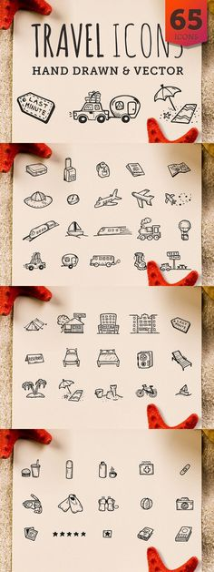 Travel - Hand Drawn Icons - Elli Gebel - Travel - Hand Drawn Icons 65 Hand Drawn Vector Icons all about traveling and vacations. You will find there such useful transportation icons like a plane, boat, train or a car with a trailer. Travel Icon, Car Travel, Train Travel, Budget Travel, Travel Checklist, Travel Essentials, Travel Usa, Part Of Hand, Harry Pottertattoo