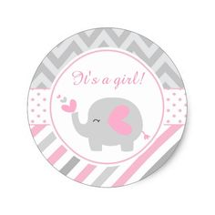 Elefante rosado y gris es un chica pegatina redonda