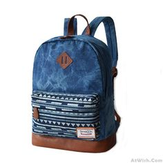 Wow~ AwesomeChevrolet Blue Stitching Leather Trunk Canvas Backpack Schoolbag! It…