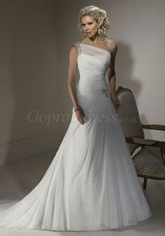 a-line Chiffon one shoulder ruched long Wedding Dress
