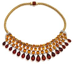 18K Gold, Citrine & Diamond Necklace; Cartier, London; Ca1950 from the Stephen Russell Collection