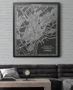 Knoxville Tennessee Map Print from 1913. Similar to Restoration Hardware maps but not affiliated with or produced by them. Many sizing options available at a fraction of the price!