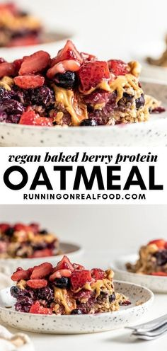 This vegan baked berry protein oatmeal is super easy to whip up for a make-ahead breakfast. Vegan Baked Oatmeal, Protein Oatmeal, Protein Bars, Strawberry Oatmeal, Baked Strawberries, Vegan Baking, Vanilla Cake, Breakfast, Easy