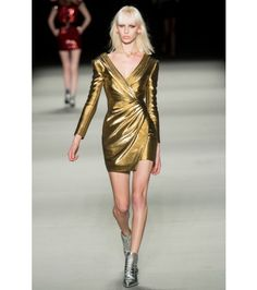 #saintlaurent - metallic woven-lamé dress