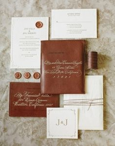 Wending Invitations: Rustic leather and engraved wedding stationary #invitations #letterpress #texture