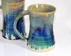 10 oz Mug Ceramic Stormy Blue and Green Ceramic by PrimitivePots