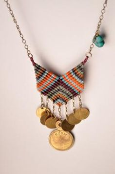 chevron necklace with rare brass charm - seniyye