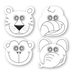 Jungle Buddies Color Your Own Paper Masks (12)... - possible sunglasses! #masks…