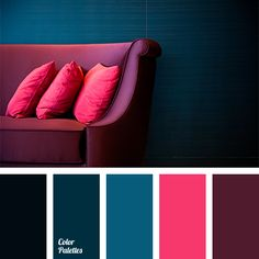 Bright crimson and burgundy make a contrast with blue-green. This color solution is heavy enough for the rooms where people will live, but it's a great cho.