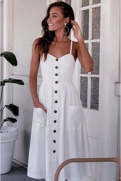 Beautiful casual dresses - 47 Beautiful Casual Dress Ideas for Women Mode Outfits, Casual Outfits, Casual Clothes, Summer Clothes, Stylish Clothes, Beautiful Casual Dresses, White Dress Casual, White Maxi, White Summer Dresses