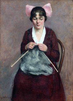 Knitting Girl, ca. 1920 by Archibald Motley, Jr. (American, 1891 - 1981) Oil on canvas 39 1/2 x 29 inches