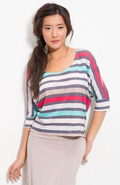 splendid striped dolman sleeve tee - hemp/ organic cotton