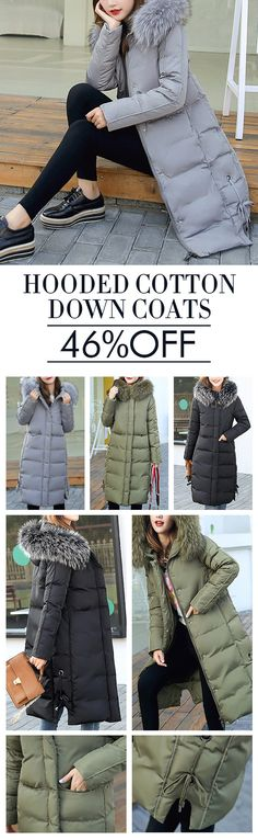 US$ 53.89 Women Long Sleeve Hooded Pure Color Mid-Long Cotton Down Coats