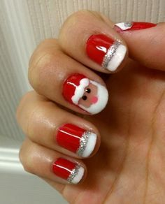 Christmas Nail Art With Santa Clause Design