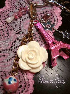 Angel Pink Paris Embellished Tour Eiffel KeyChain by CherieDeParis