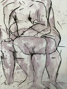 """""""Indulge""""- life drawing. Red wine and ink on paper"""