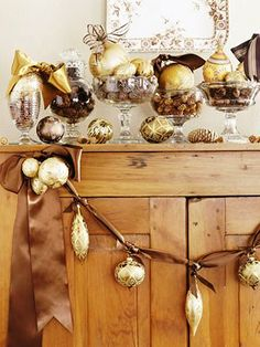 BUT  WITH WHITE OR SILVER  #Christmas #ornaments gold silver mercury glass ToniK Ðℯck Ʈհe HÅĿĿs #DIY #crafts