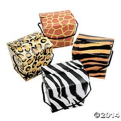 """Animal Print Boxes with Rope Handles, 2 3/4"""" x 2 3/8"""" x 2 1/2"""" and $3.00/dozen"""